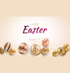 Easter card with gold ornate golden eggs on a vector