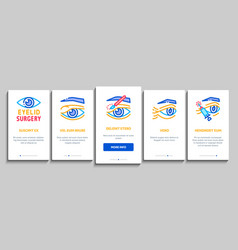 Eyelid surgery healthy onboarding elements icons vector