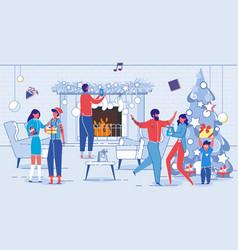 family celebrating christmas holidays at home vector image