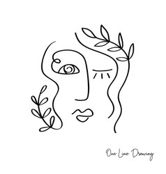 Fashion one line drawing women faces vector