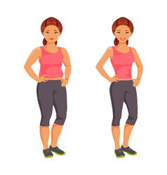 Fat and slim woman vector
