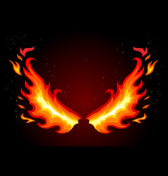 Fire wings on dark background vector