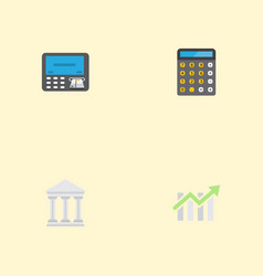 flat icons bar diagram accounting atm and other vector image