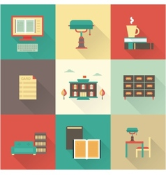 Flat library icons vector