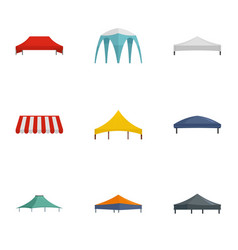 Folding tent icon set flat style vector