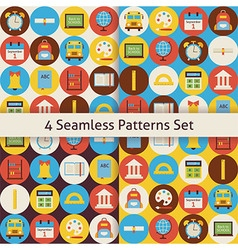 Four Flat Seamless Back to School Patterns Set vector image