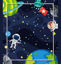 Frame design with many planets and astronauts vector