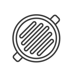 Frying pan with grill strips simple food icon in vector