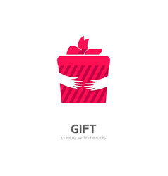 gift box in hand icon vector image