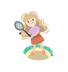 girl playing with tennis racket kid starting game vector image