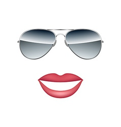 Glasses with lips isolated on white background vector
