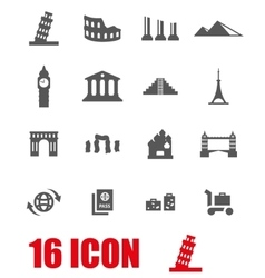 grey landmarks icon set vector image