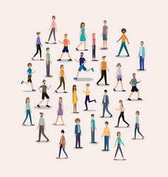 group of people walking and running characters vector image