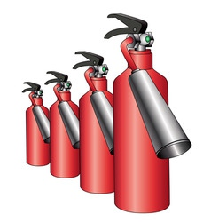 group of red fire extinguishers vector image