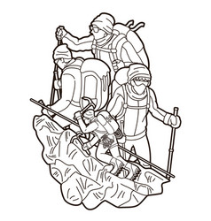 group people hiker climbing mountain hiking vector image