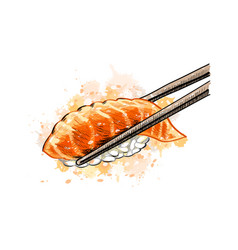 Gunkan sushi with salmon from a splash of vector
