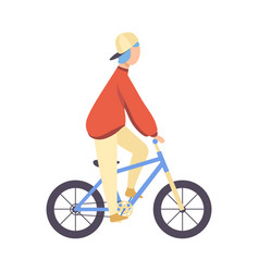 guy in cap and casual clothes riding bicycle vector image