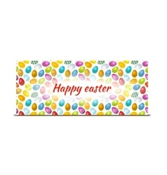 happy easter bright banner with colourful eggs vector image