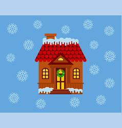 house with a facade decorated for christmas with vector image