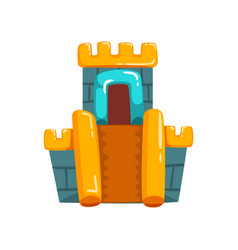 Inflatable castle with slide summer amusement vector