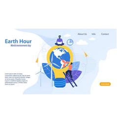 Informational flyer earth hour cartoon flat vector
