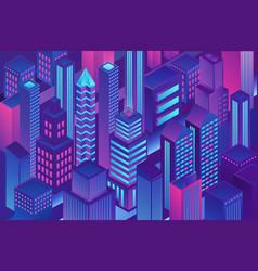 isometric trendy violet blue gradient color city vector image