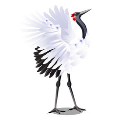 japanese crane decorated with flowers isolated on vector image