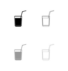 juice glass with drinking straw set icon vector image