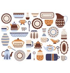kitchen crockery ceramic cookware porcelain cups vector image