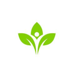 leaf people logo icon design vector image