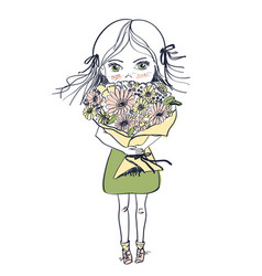 Little freckles girl in a dress with big bouquet vector