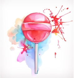 Lollipop candy watercolor painting isolated on vector