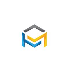 m logo hexagon icon vector image