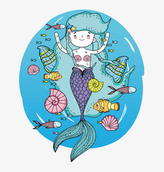 Mermaid woman with fishes and snails underwater vector