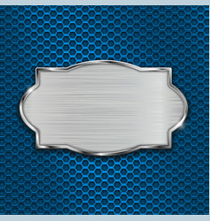 Metal scratched plate on blue perforated vector