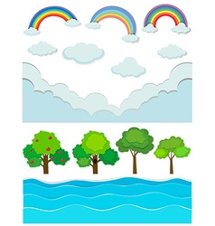 Nature scene with rainbow and river vector image