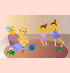 Old baby sitter playng a game with childrens vector