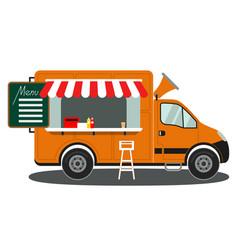 Orange food truck side view menu coffee white vector