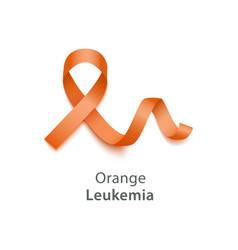 orange ribbon symbolize leukemia cancer awareness vector image