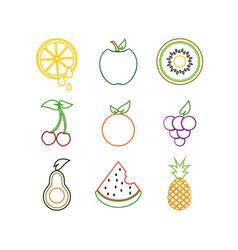 Outline fruit logo icon template vector