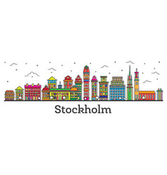 Outline stockholm sweden city skyline with color vector