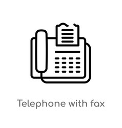 Outline telephone with fax icon isolated black vector