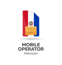 Paraguay mobile operator sim card with flag vector