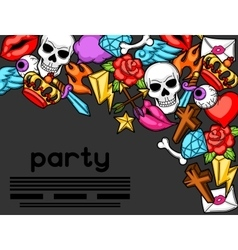Party invitation with retro tattoo symbols vector image