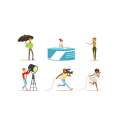 People characters shooting news and journalists vector