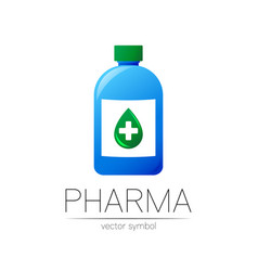 Pharmacy symbol with blue bottle and green vector