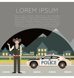 Police on the road Banner4 vector image