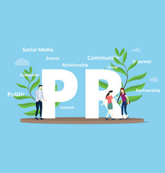 Pr public relations concept with big text and vector