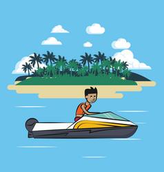 Racing boat on sea vector