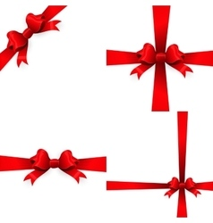 Red ribbon with bow on a white background EPS 10 vector image